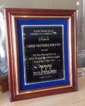 Solid Cherry Frame with Gold Inlay Trim on Blue Velvet Cast Relief Awards