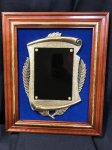 Solid Cherry Frame with Casting and Gold Inlay Trim on Blue Velvet Cast Relief Awards