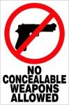 No Concealed Weapons COMPLIANT SIGNS