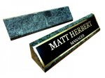 Premium Green Marble Desk Name Block with plate and engraving. Desk Accessories