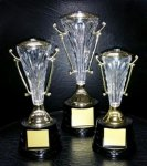 MCC18 Cup Series with Figure on Sculpted Round Black Base GOLD CUP TROPHIES