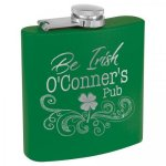 Green Powder Coated Stainless Steel Flask Personalized Gifts