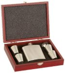 Rosewood Finish Flask Set  Personalized Gifts