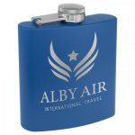 Royal Blue Powder Coated Stainless Steel Flask  Personalized Gifts