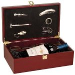 Rosewood Finish Wine Box with Tools and Wine Glasses Personalized Gifts