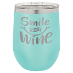 Polar Camel 12 oz. Stemless Wine Glass -Teal Personalized Gifts