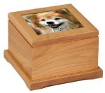 Red Alder Pet Urn with Photo Pet Tags, Photos, and Memorials