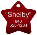 Anodized Aluminum Star Dog Tag Pet Tags, Photos, and Memorials