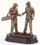 Golfer With Caddie, Male Signature Rosewood Resin Trophy Awards