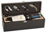 Black Finish Single Wine Box With Tools Wine Gifts